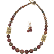 Graduated Red Creek Jasper with Tibetan Brass Bead Necklace and Earrings Set