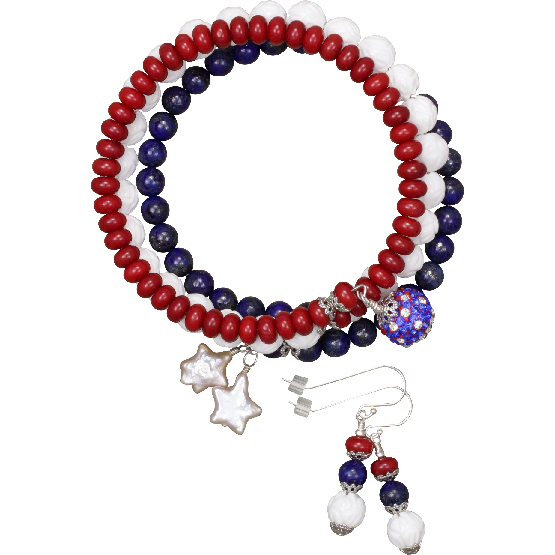 Red White and Blue Stacked Bangle Bracelet SOLD on Ruby Lane