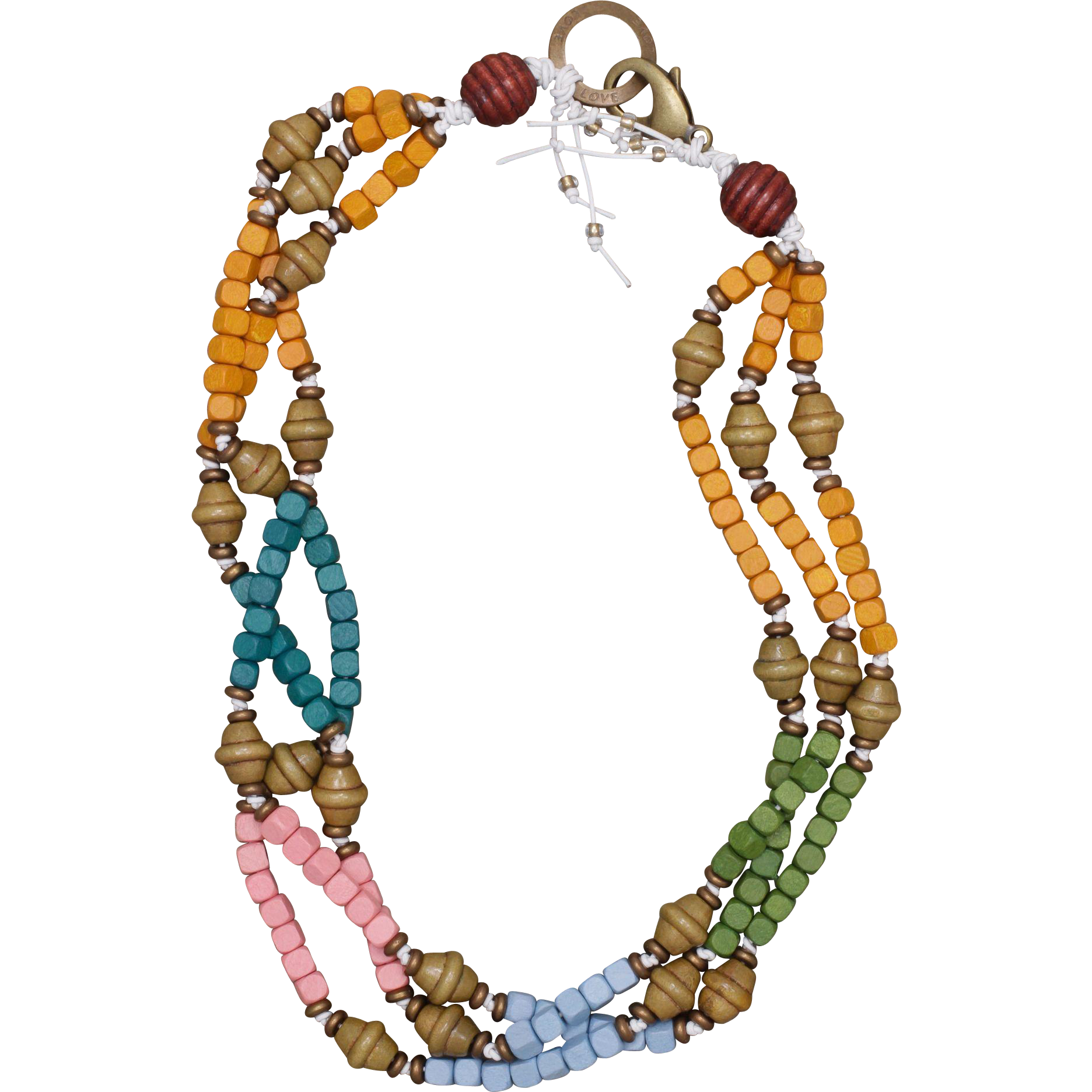 Color Me Some Fun Wood Beads and Leather Necklace