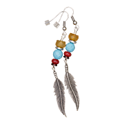 Multi Gemstone Feather Charm Long Earrings