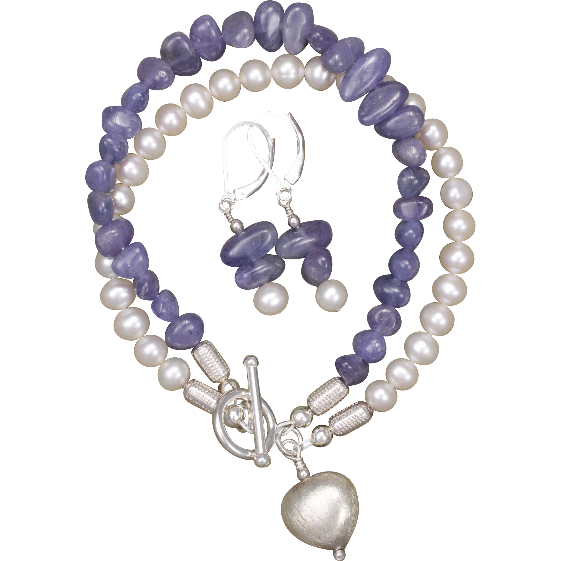 Pearl Tanzanite: Tanzanite And Freshwater Cultured Pearl Bracelet And