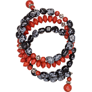 Snowflake Obsidian and Sponge Coral Bangle Bracelet