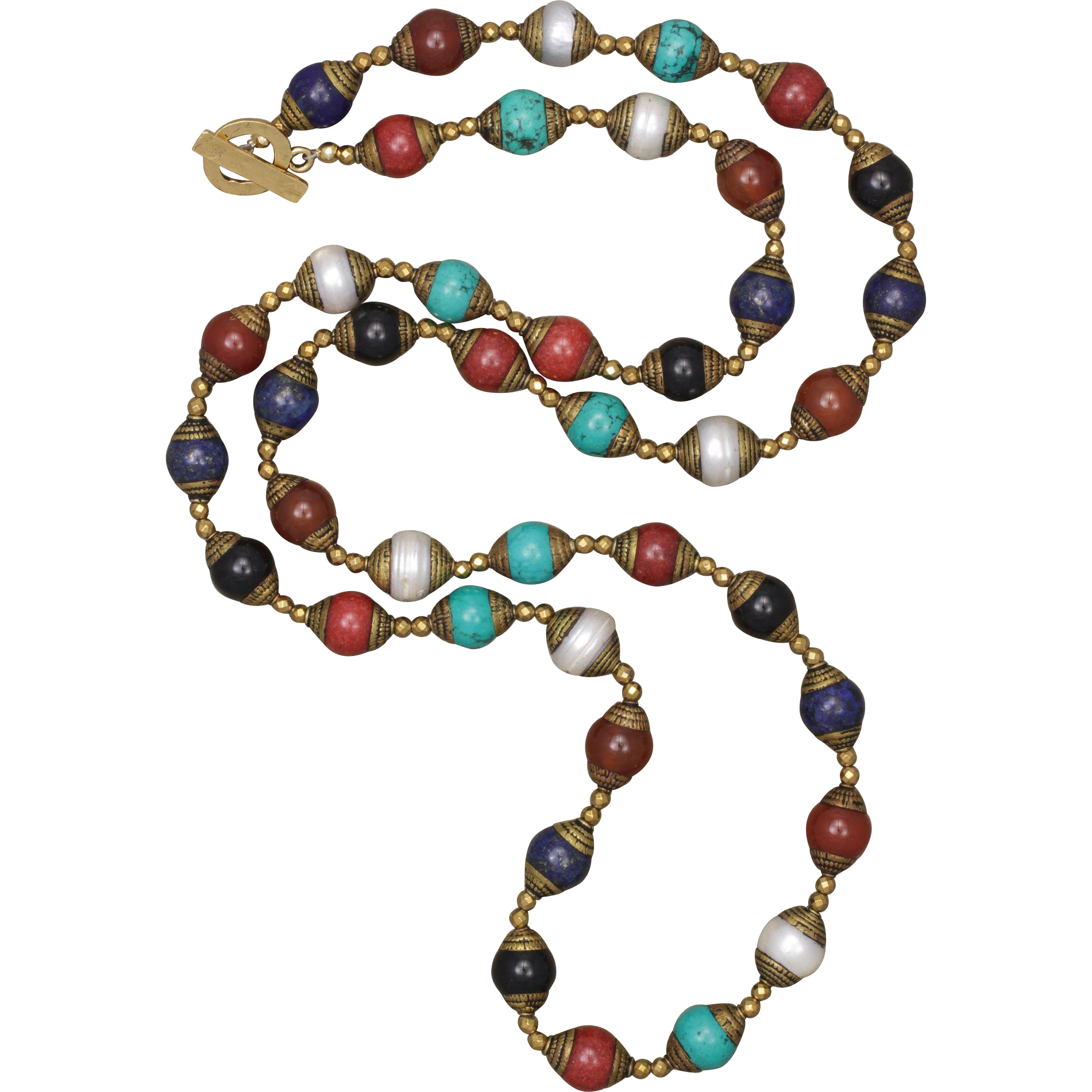Multi-Gemstone Tibetan Hand Made Bead Long Necklace