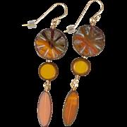 Sunburst Long Earrings of Czech Glass Beads