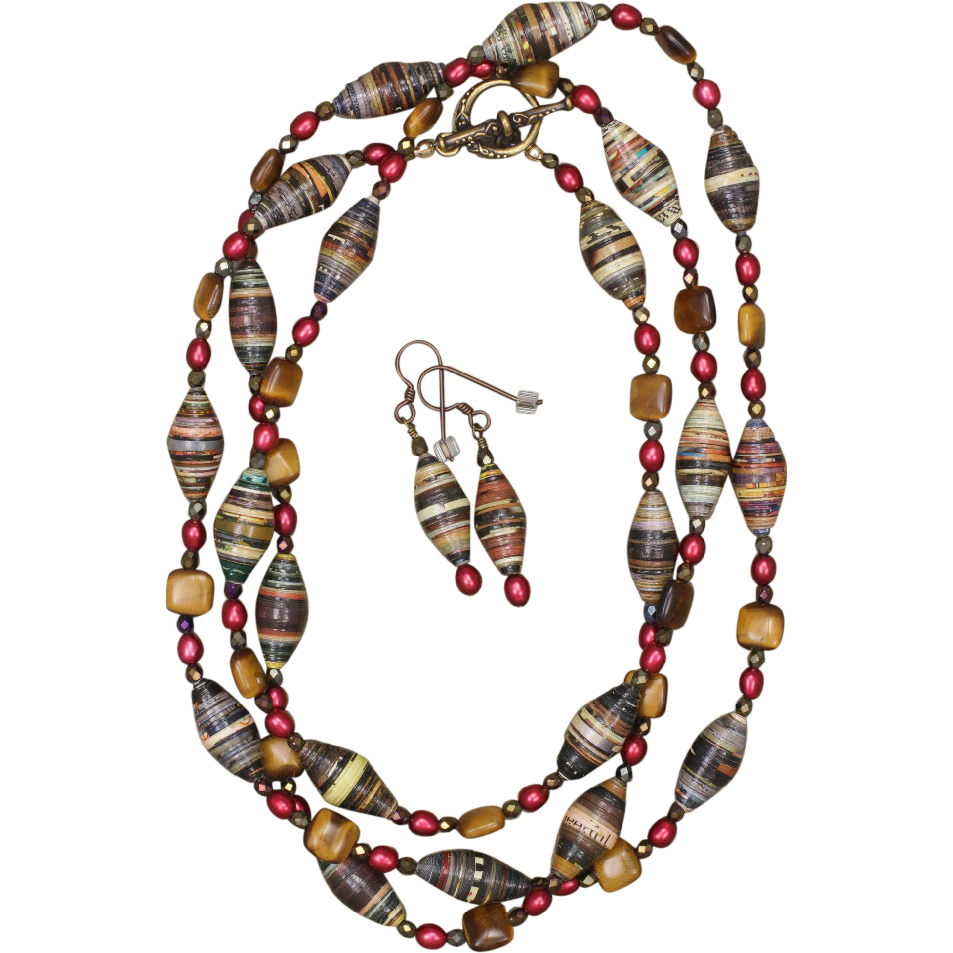 Tiger Eye, Paper Beads and Winter Berries Long Necklace and Earrings Set