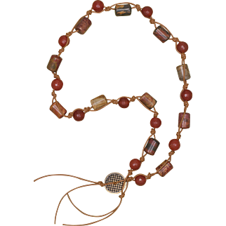 Red Creek Jasper and Carnelian Leather Necklace