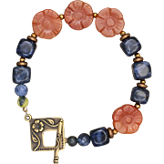 Blue and Orange Flower Bracelet
