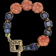 Blue and Orange Flower Bracelet