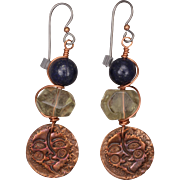 Sun Moon Copper Charm Earrings