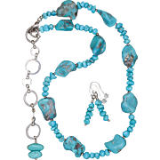 Turquoise Nugget Necklace and Earrings Set