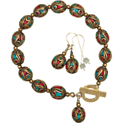 Nepalese Brass Coral and Turquoise Bead Bracelet and Earrings Set