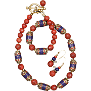 Sponge Coral and Tibetan Beads Necklace and Earrings Set