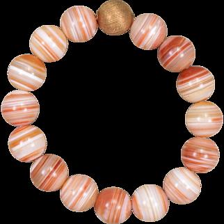 Orange Sardonyx Bead Bracelet