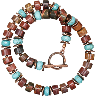 Red Creek Jasper, Turquoise and Copper Necklace