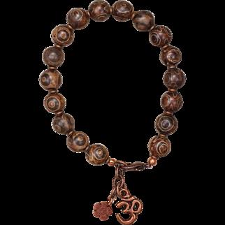 Agate and Copper 'Om' Bracelet