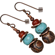 Agate, Turquoise, Carnelian and Copper Earrings
