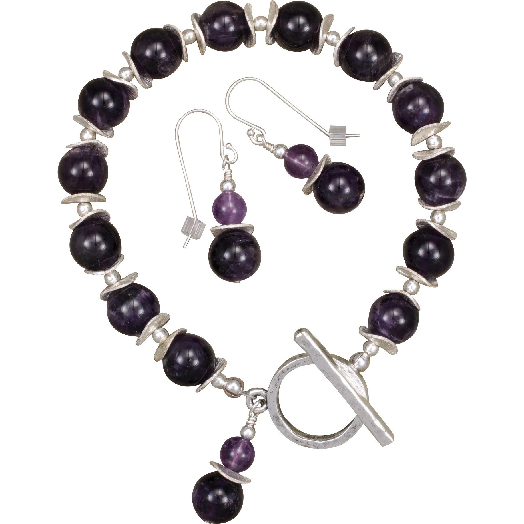 Amethyst Bracelet and Earrings with Silver