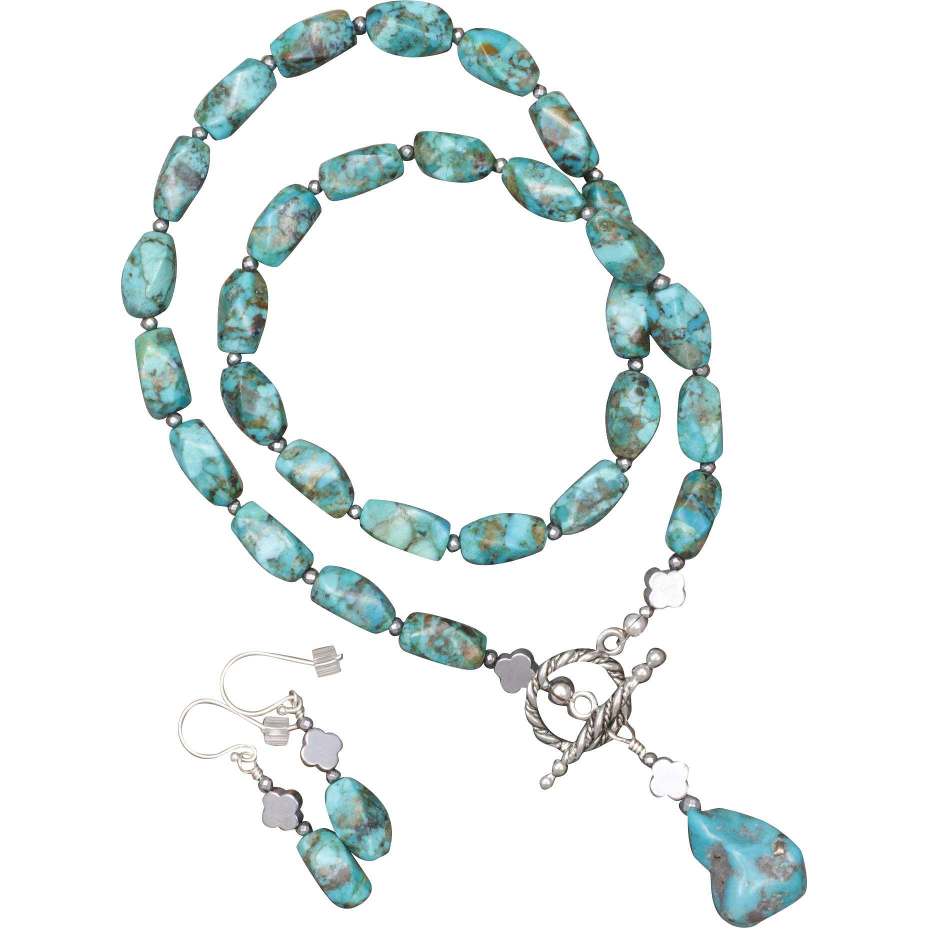 Turquoise, Hematite and Pyrite Necklace and Earrings Set