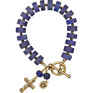 Lapis Lazuli Bracelet with Cross and Heart Charms