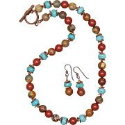 Jasper and Turquoise Necklace and Earrings Set with Copper