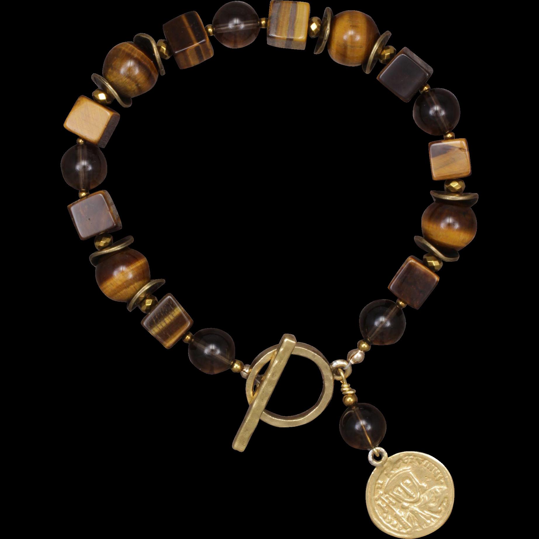 Tiger Eye and Smoky Quartz Bracelet