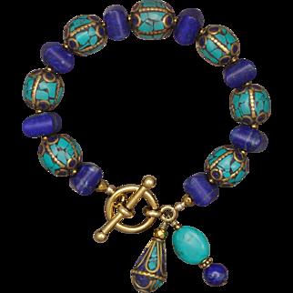 Lapis Lazuli and Turquoise Bracelet with Nepalese Beads