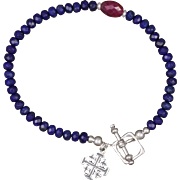 Lapis Lazuli and Ruby Bracelet in Sterling Silver