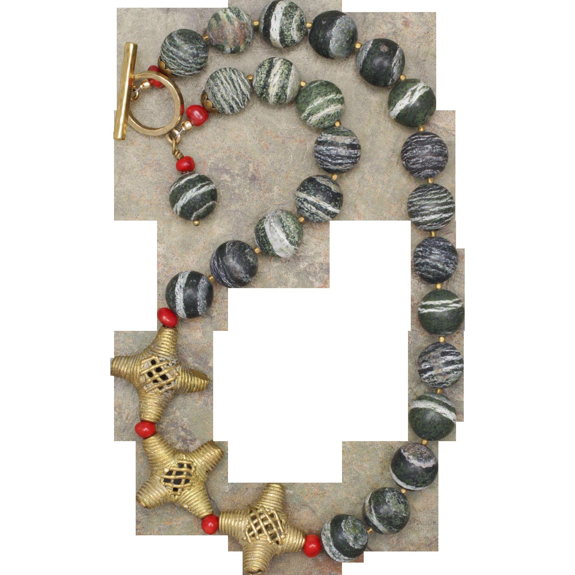 Green Zebra Jasper and African Brass Bead Necklace