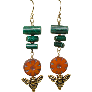 Malachite and Czech Flower Long Earrings