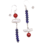Asymmetrical Red, White and Blue Gemstone Earrings