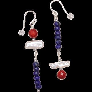Asymmetrical Red, White and Blue Gemstone Earrings