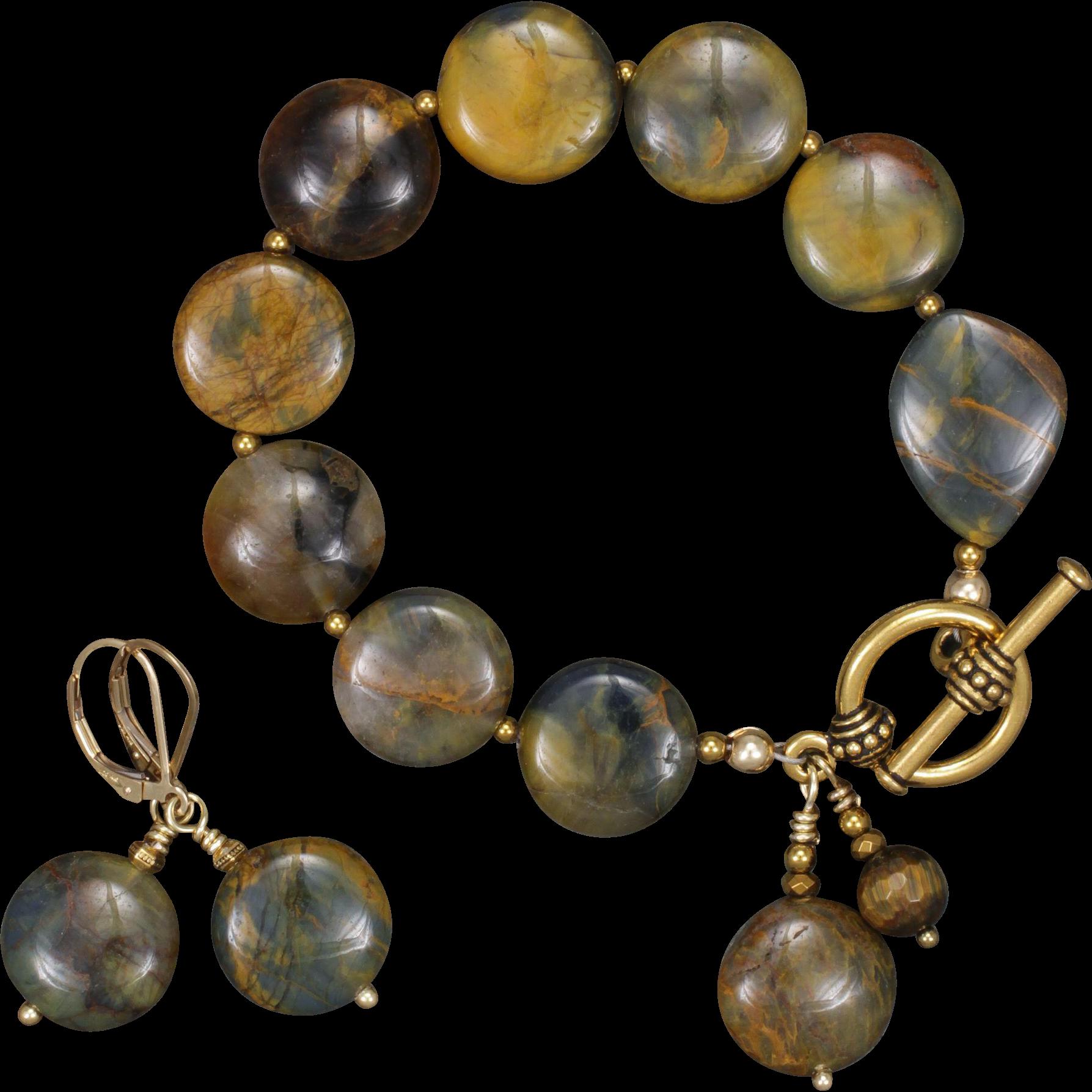 Pietersite Bracelet and Earrings Set