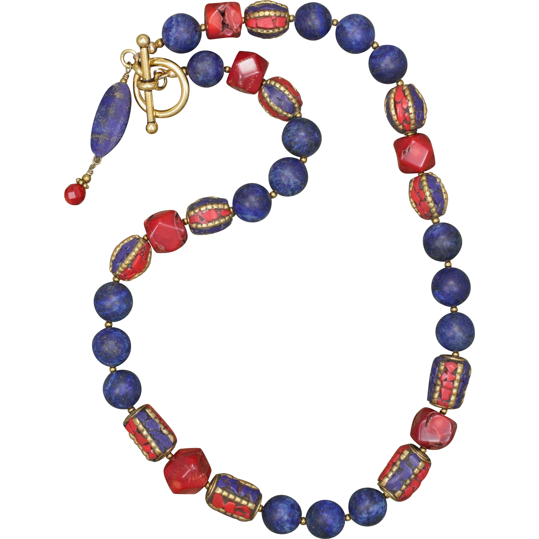 Lapis Lazuli and Red Coral Necklace with Tibetan Brass Beads