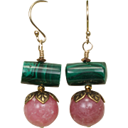 Summer Earrings with Rhodochrosite and Malachite