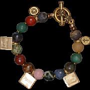 Multi-Gemstone 'Faith' Charm Bracelet