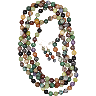 Mixed Gemstone Knotted Rope Necklace with Earrings