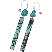 Natural Turquoise Nugget and Copper Plank Earrings