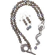 Mermaid Necklace and Earrings Set with Labradorite and Freshwater Pearls