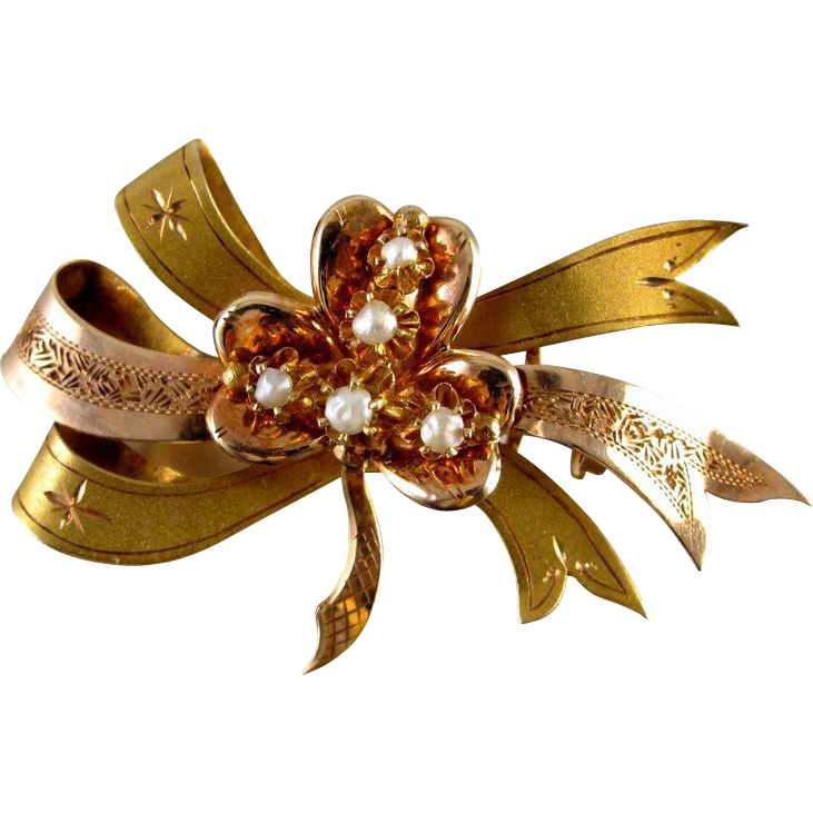 Gold Victorian shamrock clover ribbon bow ribbon pearl pin brooch