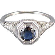Vintage early Art Deco 18k white gold filigree .40 ct. sapphire solitaire ring, size 6