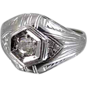 Art Deco 18K white gold .25 carat diamond ring