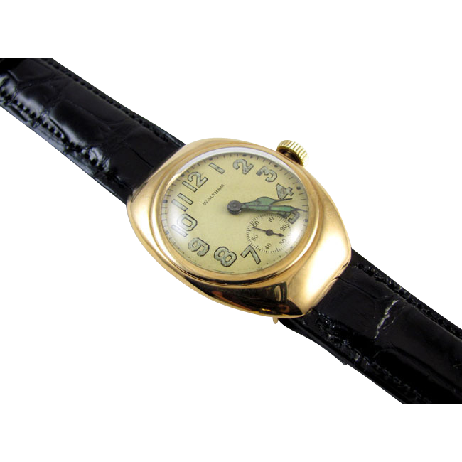 PROFESSIONALLY RESTORED and SERVICED- Rare1918 ART DECO Waltham 14k SOLID gold wrist watch hooded lug The Ruby 1 Star Rated