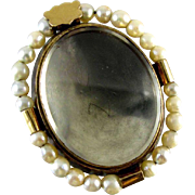 Scarce early 1800s antique Georgian natural pearl hair locket brooch pin hand crafted