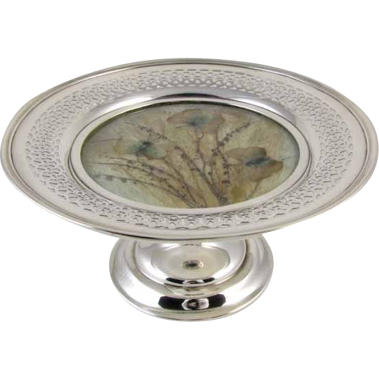 Art Deco 1915 sterling silver pressed Morpho butterfly moth and milk grass under glass compote dish