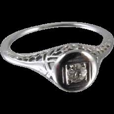 Art Deco filigree 18k white gold .06 ct diamond engagement solitaire ring