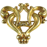 Antique Edwardian 10k gold stylized heart fleur de lis brooch pin Signed Kohn