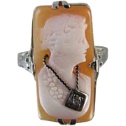 Vintage early Art Deco 14k white gold filigree cameo wearing a lei En Habille diamond ring
