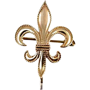 Antique Edwardian 10k rose gold fleur de lis brooch pin milgrained bead work