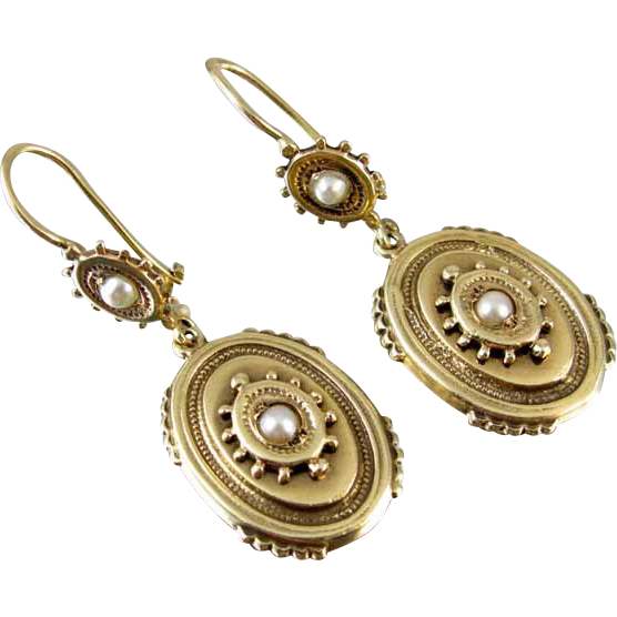 Edwardian 14k gold seed pearl bead work earrings