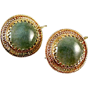 Vintage 14k gold mossy green agate filigree earrings
